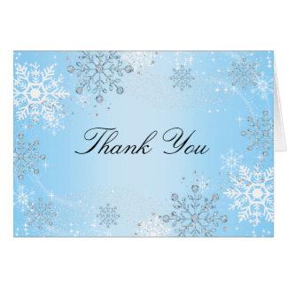 Blue Crystal Snowflake Winter Wonderland Thank You Note Card