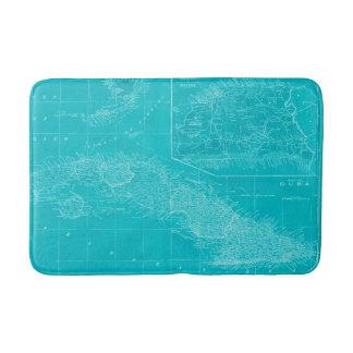 Blue Cuba Map Bath Mat