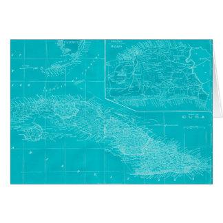 Blue Cuba Map Card