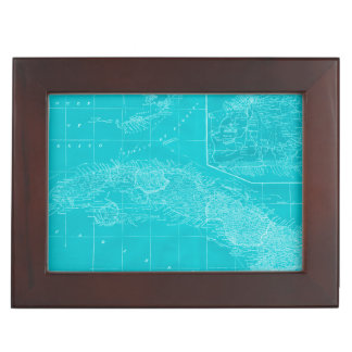 Blue Cuba Map Keepsake Box