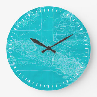 Blue Cuba Map Large Clock