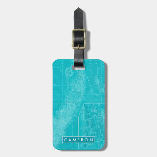 Blue Cuba Map Luggage Tag