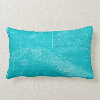 Blue Cuba Map Lumbar Cushion
