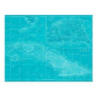 Blue Cuba Map Postcard