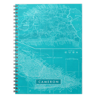 Blue Cuba Map Spiral Notebook