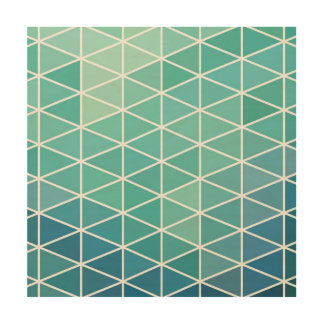 Blue Cubic Grid Pattern Wood Canvases
