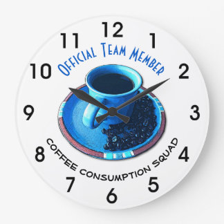 Blue Cup, Black Coffee, Saucer and Beans Large Clock