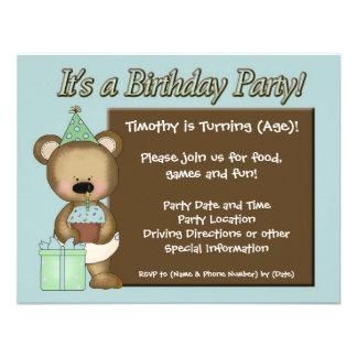 Blue Cupcake Bear Birthday Party Invitations