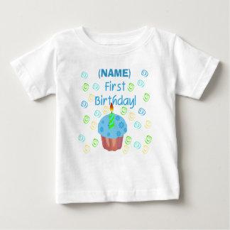 Blue Cupcake First Birthday Customizable Baby T-Shirt
