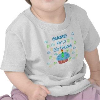 Blue Cupcake First Birthday Customizable Tee Shirts