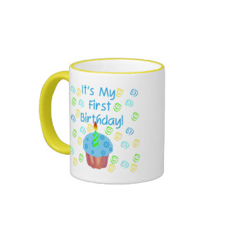 Blue Cupcake with Candle First Birthday Ringer Mug