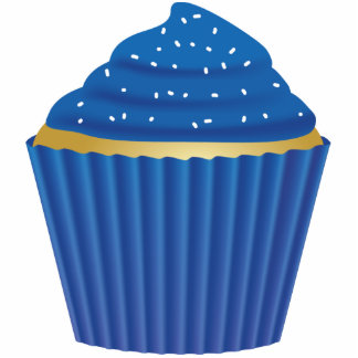 Blue Cupcake with White Sprinkles Standing Photo Sculpture