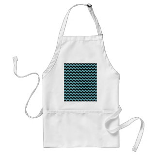 Blue Curacao And Black Zigzag Chevron Pattern Aprons