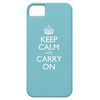 Blue Curacao Keep Calm And Carry On White Text Case For The iPhone 5