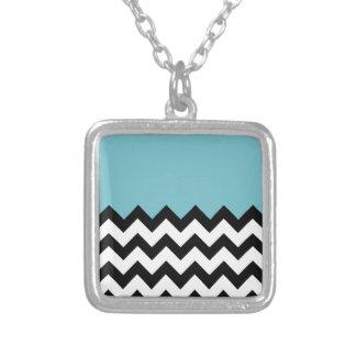Blue-Curacao-Pattern-On-Black-&-White--Zigzag Pendant