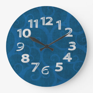 Blue curls lines large clock