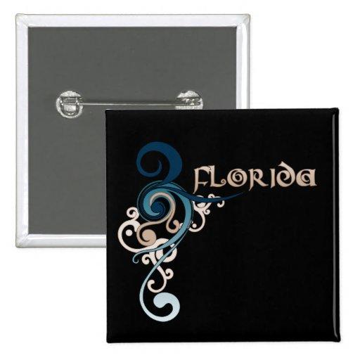 Blue Curly Swirl Florida Button Dark