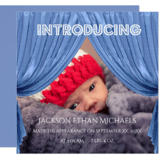 Blue Curtain Intrduction Birth Announcement