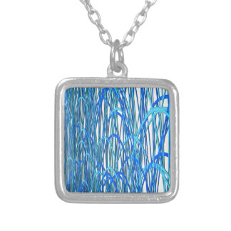 Blue Curves Silver Plated Necklace