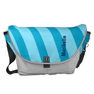 "Blue Curving Stripes ""Add Your Name"" Courier Bags"
