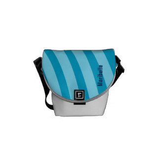 """Blue Curving Stripes """"Add Your Name"""" Commuter Bags"""