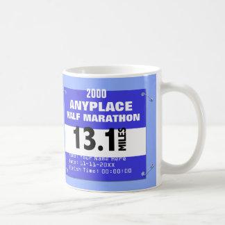 Blue Custom Anyplace Half Marathon, 13.1 Miles Coffee Mug