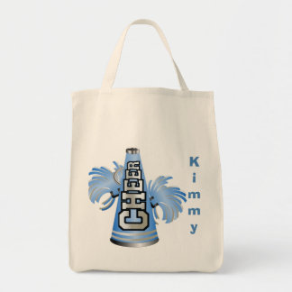 Blue Custom Cheerleader Canvas Tote Bag