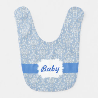 Blue Custom Damask Baby Bib