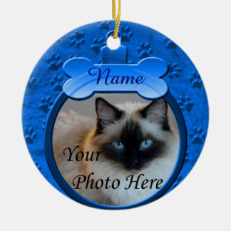 Blue Custom Dog or Cat Memorial Round Ceramic Decoration