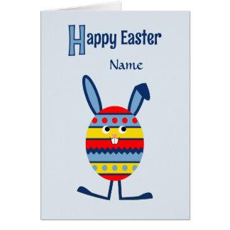 Blue custom name Easter egg bunny Greeting Card