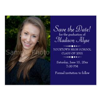 Blue Custom Photo Graduation Save the Date Postcard