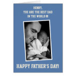Blue Custom PHOTO Happy Fathers Day Cards