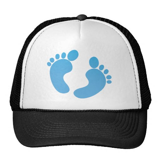 Blue cute baby feet maternity mesh hats