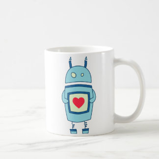 Blue Cute Clumsy Robot With Heart Coffee Mug