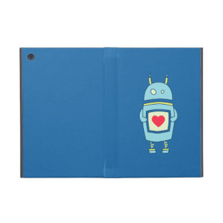 Blue Cute Clumsy Robot With Heart Folio iPad Mini Covers