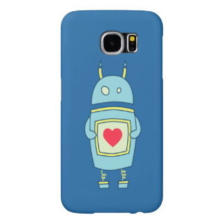 Blue Cute Clumsy Robot With Heart Samsung Galaxy S6 Cases