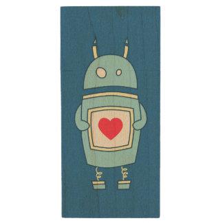 Blue Cute Heart Holding Cartoon Robot Wood USB Flash Drive