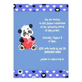 Blue Cute Hearts Baby Panda Baby Shower Card