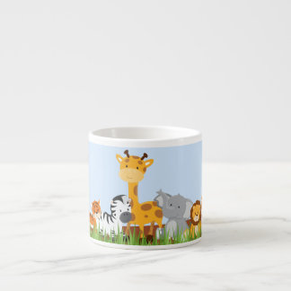 Blue Cute Jungle Baby Animals Espresso Mug