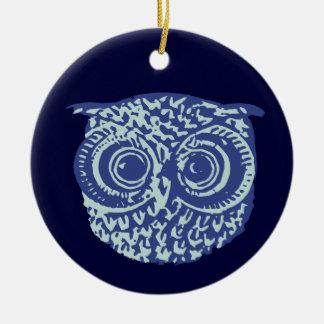 Blue cute owl picture round ceramic decoration
