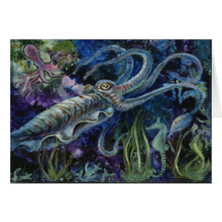 """Blue Cuttlefish"", a cuttlefish greeting card"