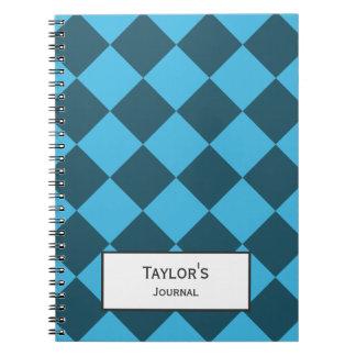 Blue Cyan Diamond Geometric Pattern Custom Spiral Notebook