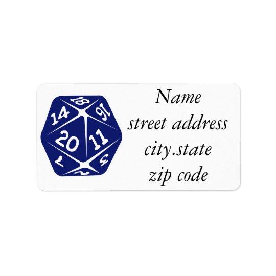 Blue d20 address label
