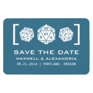 Blue D20 Dice Gamer Save the Date Magnet