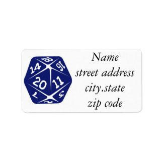 Blue d20 label