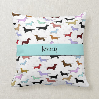 Blue Dachshund Dog Pillow