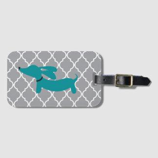 Blue Dachshund Luggage Bag Tag Gift