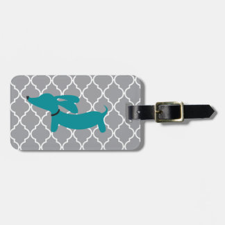 Blue Dachshund Luggage Bag Tag Gift