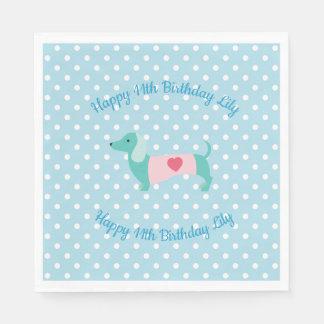 Blue Dachshund Party Napkins Paper Napkin