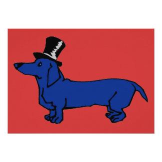 Blue Dachshund Top Hat Custom Invitations